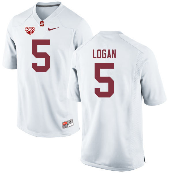 Men #5 Donjae Logan Stanford Cardinal College Football Jerseys Sale-White